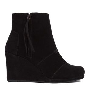 •TOMS• Desert Wedge Bootie Tall Ankle Black Suede